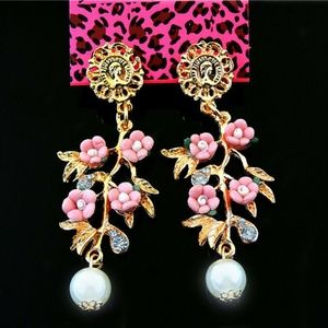Pink Crystal Pearl Flower Ear Stud Dangle Earring